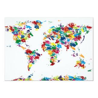 World Map Paint Drops 13 Cm X 18 Cm Invitation Card