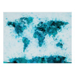 World Map Paint Splashes Blue Poster