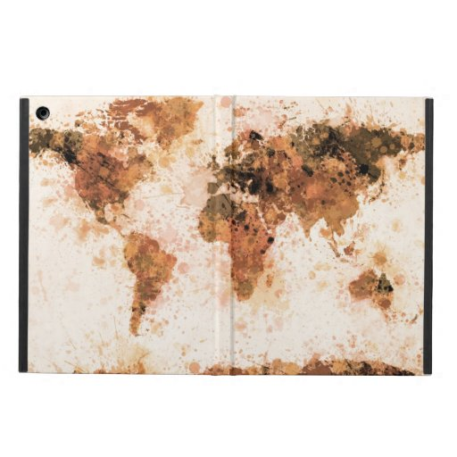 World Map Paint Splashes Bronze iPad Air Cover