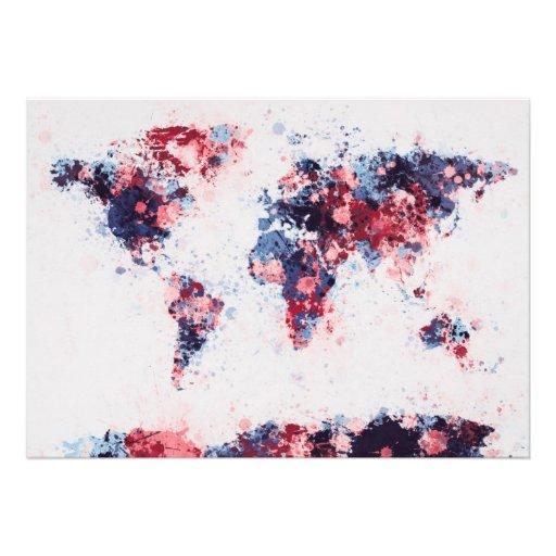 World Map Paint Splashes Personalised Invitation