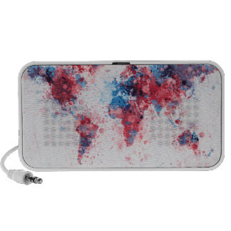 World Map Paint Splashes Portable Speakers