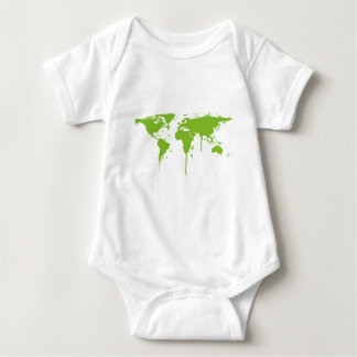 World Map Painted Green Graffiti Baby Bodysuit
