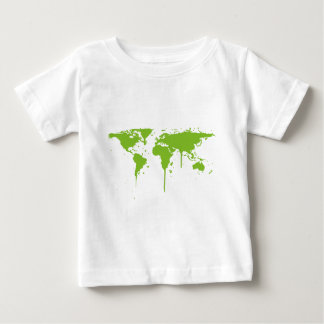 World Map Painted Green Graffiti Baby T-Shirt