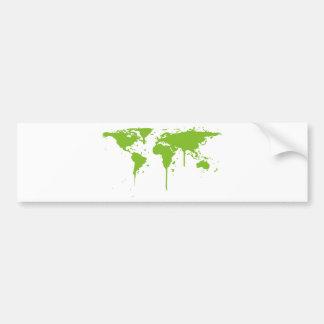 World Map Painted Green Graffiti Bumper Sticker