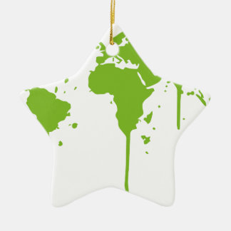World Map Painted Green Graffiti Ceramic Star Decoration