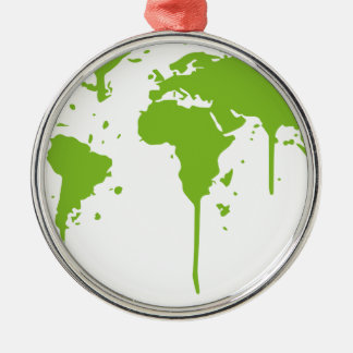 World Map Painted Green Graffiti Christmas Ornament