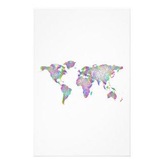 World map personalized stationery