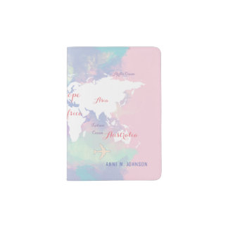 world map pink travel, stylish passport holder