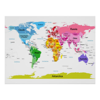 Childrens world map posters prints zazzle world map poster gumiabroncs Gallery