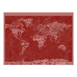 Red world map posters prints zazzle uk world map red 1 poster gumiabroncs Gallery