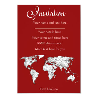 World map red white 13 cm x 18 cm invitation card