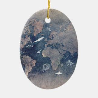 world map sealife christmas ornament