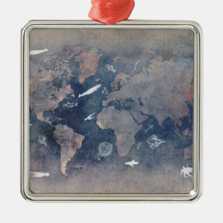 world map sealife christmas ornament