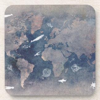 world map sealife coaster