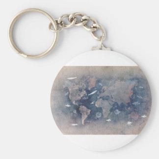 world map sealife key ring