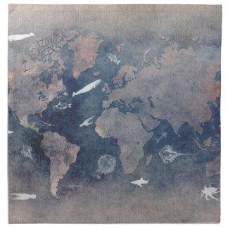 world map sealife napkin