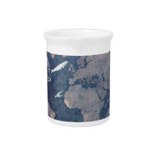 world map sealife pitcher