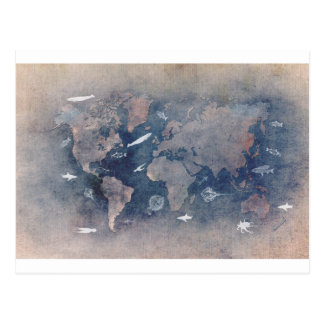 world map sealife postcard