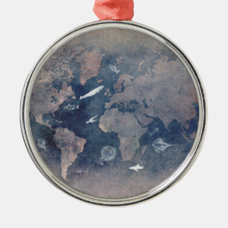 world map sealife Silver-Colored round decoration