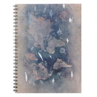 world map sealife spiral notebook
