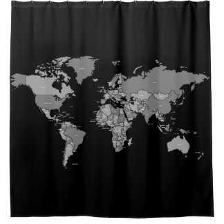 World Map Shower Curtain in Black and Grey Shades