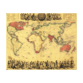 World Map Showing British EmpirePanoramic Map Gallery Wrapped Canvas