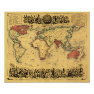 World Map Showing British EmpirePanoramic Map Poster