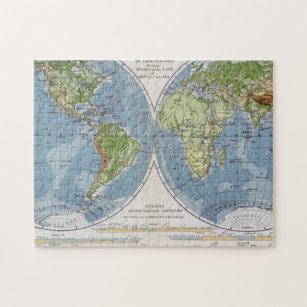 World Map showing Heights of Land depth of Sea Jigsaw Puzzle