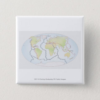 World map showing plate margins 15 cm square badge
