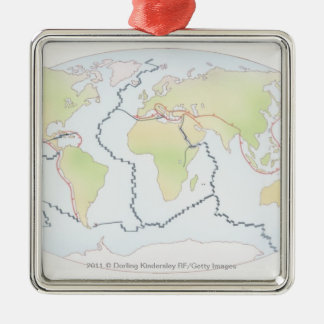 World map showing plate margins christmas ornament