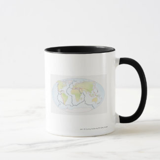 World map showing plate margins mug