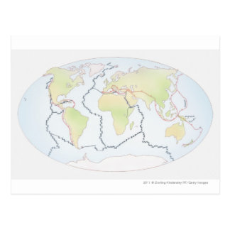 World map showing plate margins postcard