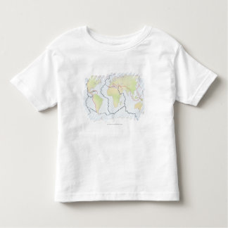 World map showing plate margins toddler T-Shirt