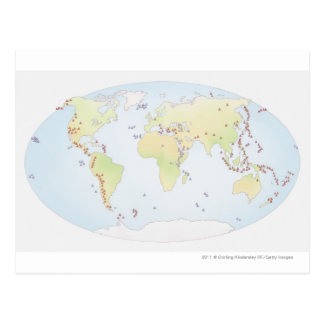 World map showing sites of volcanic activity postcard
