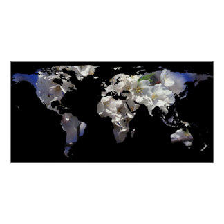 World Map Silhouette - Cherry Blossoms Poster