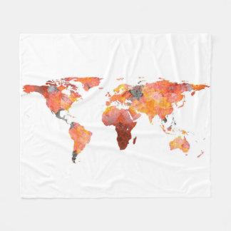 World Map Silhouette - Fire Photographic Mandala Fleece Blanket