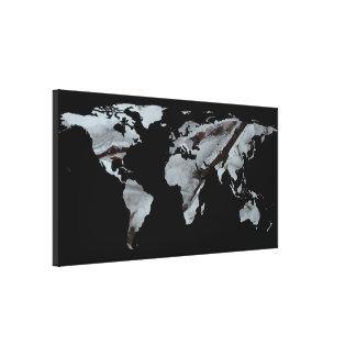 World Map Silhouette - Frozen Winter Trees Canvas Print