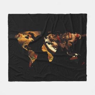 World Map Silhouette - Mexican Food Fleece Blanket