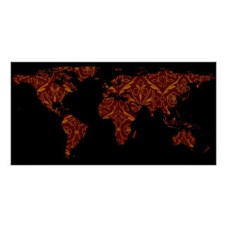 World Map Silhouette - Orange & Red Floral Patten Poster