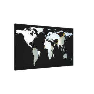 World Map Silhouette - Penguins Canvas Print