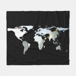 World Map Silhouette - Penguins Fleece Blanket