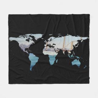 World Map Silhouette - Sailing Round The World Fleece Blanket