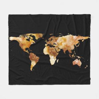 World Map Silhouette - Sausage Pizza Fleece Blanket