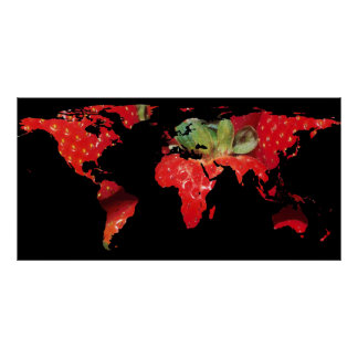 World Map Silhouette - Strawberries Poster