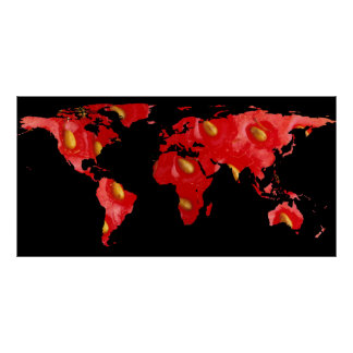 World Map Silhouette - Strawberry Poster