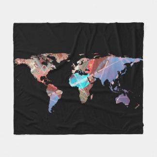 World Map Silhouette - Stylished Light Showers Fleece Blanket