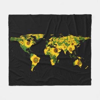 World Map Silhouette - Sunflowers Fleece Blanket