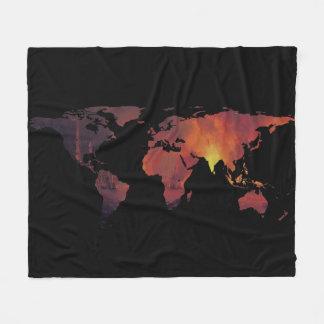 World Map Silhouette - The World is On Fire Fleece Blanket