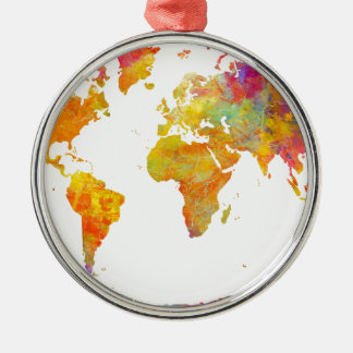 world map Silver-Colored round decoration