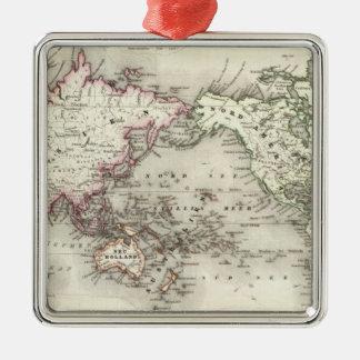 World Map Silver-Colored Square Decoration